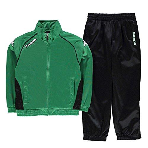 Kappa Pescara Kinder Sportanzug Trainingsanzug Jogginganzug Logo Taschen Schwarz/Gruen 13 (XLB) (Gemusterte Lounge-hose)