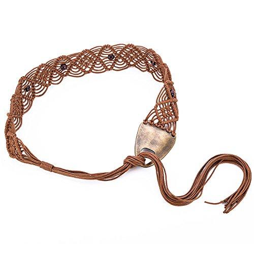 olk-benutzerdefinierte Wachs Seil Geflochtene Handgemachte Gürtel Böhmischen Stil Taille Kette Kleid Selbst Binden Schnalle,Brown-137cm (Seil Gürtel)