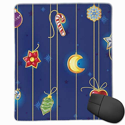 Mouse Mat Stitched Edges, Cute Celebratory Object On Stripes Star Moon Candy Flower Xmas Theme Illustration,Gaming Mouse Pad Non-Slip Rubber Base