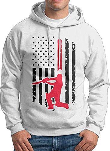TeMcn_diy Men's Cricket American Flag Patterns Print Athletic Pullover Sweatshirts