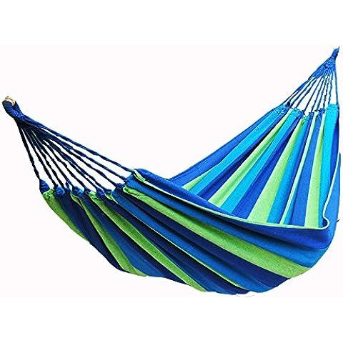 Lienzo doble de alta resistencia hamaca portátil ultraligero al aire libre hamaca, azul