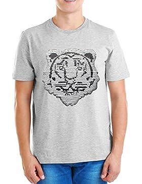 ZipZappa Tigre Lentejuelas Camiseta Para Niño Camiseta de Manga Corta 4-14 Años