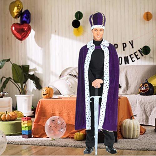 Robe Kings Kostüm - S-tubit King Robe Halloween Kostüme Adult King Cape Umhang Kostüm für Rollenspiele, 120cm Länge fit