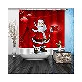 Daesar 3D Duschvorhang Polyester-Stoff Vintage Weihnachtsmann Duschvorhang Anti-Schimmel 120x180CM