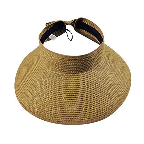 Dasongff Damen Sonnenhut Sunvisor aus Strohborte Visoren Long Brim Empty Top Hüte Sommer Sonnen Visor Sonnenschutz Golf Visier Strand Stroh Sommerhut Visoren Hüt (Minion Hoodie Für Erwachsene)