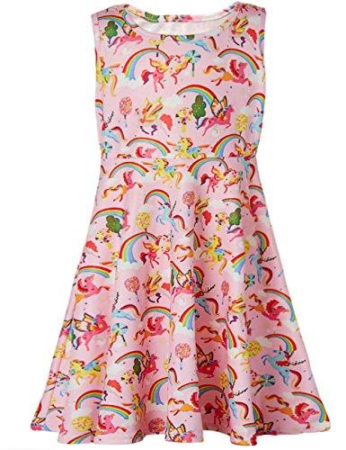 Funnycokid Mädchen Swing Kleid Einhorn Gedruckt Cartoon-Muster Ärmelloses Kleid (Mädchen Swing-kleid)