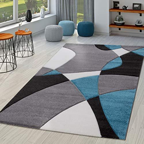 TT Home Alfombra Salón Moderna Motivo Abstracto Perfil Contorneado Negro Gris Turquesa, Größe:60x110...