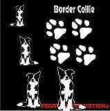 Grosses Border Collie Aufkleber-Set in DIN A 4 , 30x20 cm für Auto,Wand, Laptop,Kuche, Napf, u.alle glatten Flächen von Pegatina Promotion  Name Hunde Hunde Pfoten Pfote ohne Hintergrund aus Hochleistungsfolie für Lack und Scheibe,Autoaufkleber, Laptop, Wandtattoo, Küche, Hund Hunde Dogs Sticker Herzlinie Hundefan