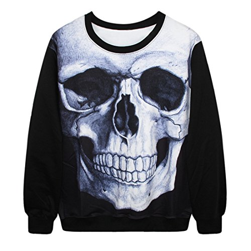 YICHUN Femme Tops T-Shirts Tee-Shirt Léger Sweat-shirts Sweaters Pulls Blouse Pull-Overs Jumpers Tête de Mort 2#