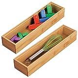 mDesign 2er-Set Schubladeneinsatz für die Küche - modularer Besteckkasten für Silberbesteck und mehr - Organizer aus Bambus für die Schublade - hellbraun