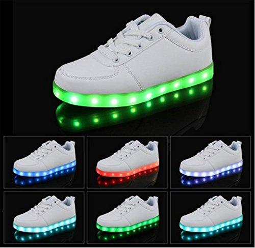[Présents:petite serviette]JUNGLEST® - 7 Couleur Mode Unisexe Homme Femme Fille USB Charge LED Chaussures Lumière Lumineux Clignotants Chaussures de marche Haut-Dessus LED Ch Blanc