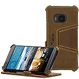 MANNA UltraSlim Hülle für HTC One M9 | Hülle Aufstellbar | Case aus Nubuk Leder, braun mit farblich abgesetzter Naht | Innenseite der Schutzhülle mit Microvlies gepolstert | Visitenkartenfach