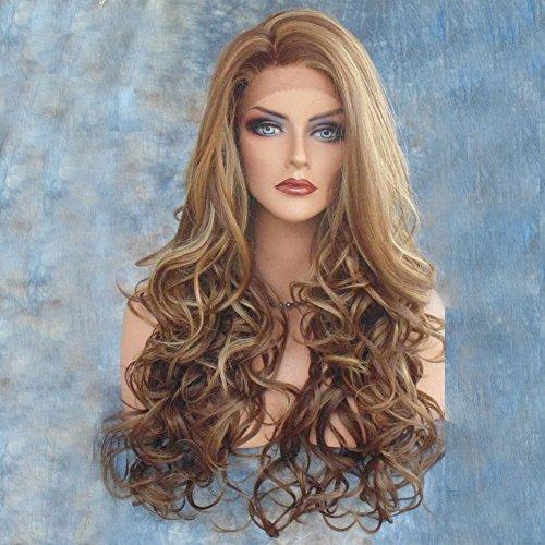 HAOBAO Lange Haare lockiges Haar weibliche Perücke braun Flauschige natürliche Volumen Hochzeit Dating Party wesentliche hohe Temperatur Draht Perücke Haar setzt -
