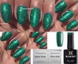 Bluesky VIP02 Emerald Green glitzernder Gel-Nagellack UV/LED Soak-Off-Gel,10 ml inkl. 2 Glanztücher von Homebeautyforyou