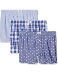 Springfield Pack 3 Woven Blue, Boxer Homme