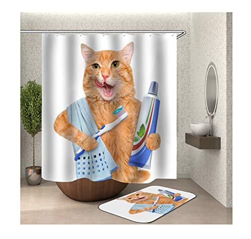 Bishilin Polyester-Stoff Duschvorhang Waschbar 165x200, Katze mit Zahnbürste und Zahnpasta Badematte WC Vorleger 40x60 Badezimmerteppich Set 2 Stück