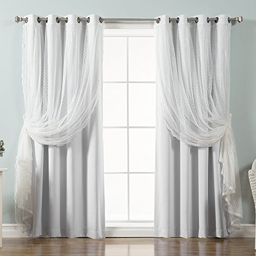 Best Home Fashion Tüll Spitze und 4Stück Vorhang, verdunkelnd, Set, Vapor, 52W x 84L