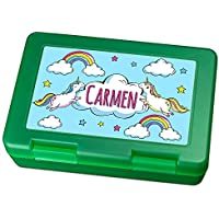 Preisvergleich für Brotdose mit Namen Carmen - Motiv Einhorn, Lunchbox mit Namen, Frühstücksdose Kunststoff lebensmittelecht
