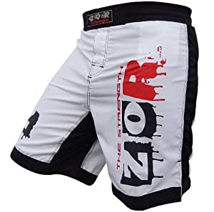 "MMA Fight Shorts UFC Cage Fight Grappling Muay Thai Boxing Kikcboxing Martial Art Training 3 Designs All Sizes (Extreme-White, 2XL ( 38-40"" ))"