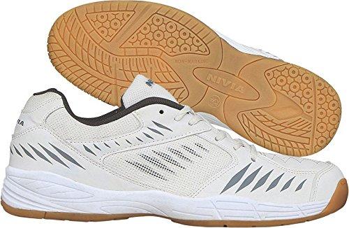 Nivia Super Court Badminton Shoes,UK 12 (White/Darkgrey)