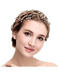 YAZILIND tocado belleza nupcial diadema de aleaci¨®n Dragonfly perlas de pelo de la boda accesorios fiesta mujeres
