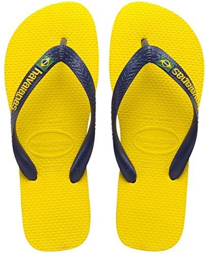 Havaianas Zehentrenner Damen/ Herren Brasil, Gelb (Brasil Logo Citrus Yellow), 37/38 EU ( 35/36 Brazilian) (Schuhe Brasilien)