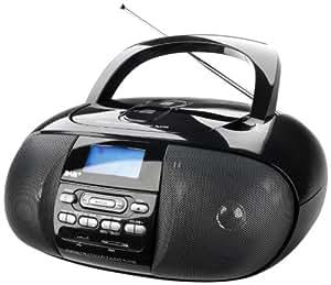 Dual DAB 43 - Radio digitale portabile Boombox compatbile DAB/DAB+/UKW-Tuner, con radio e lettore CD, colore: Nero