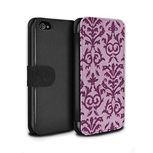 Stuff4 Coque/Etui/Housse Cuir PU Case/Cover pour Apple iPhone 4/4S / Orange Design / Motif de défilement Collection Rose