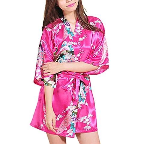 Waymoda Women Luxury Silky Satin Evening Dressing Gown, Ladies Peacock and Blossoms Pattern Kimono Pajamas, 10+ Color, 4 Sizes Optional - Short