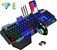 Wireless gaming Keyboard and Mouse,Removable Hand Rest Mechanical Feel Keyboard and 7 Color Gaming Mute Mouse