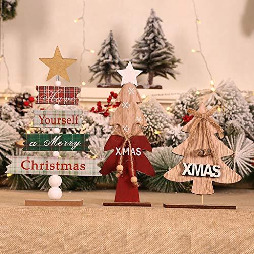 vijTIAN - Mini Albero di Natale in Legno da scrivania, Decorazione Natalizia con Decorazioni Artigianali, Resistente all'Usu