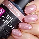 Pink Gellac 154 Nude Beige UV Nagellack. Professionelle Gel Nagellack shellac für mindestens 14 Tage perfekt glänzende Nägel