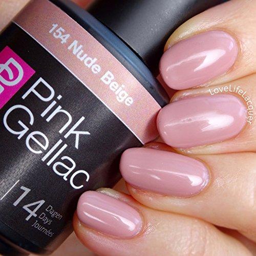 Vernis à ongles Pink Gellac 154 Nude Beige. 15 ml gel Manucure et Nail Art pour UV LED lampe, top coat résistant shellac