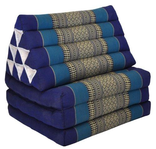 Kapok Thaikissen, Yogakissen, Massagekissen, Tantrakissen, Sitzkissen, Strandkissen, Meditationskissen - Blau (Dreieck mit drei Auflagen 52x50x45)