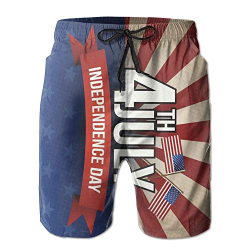 4th of July Independence Day US Flag Men's Quick Dry Swim Trunks Beach Shorts with Pockets Lightweight Fashion Bathing Suits - L