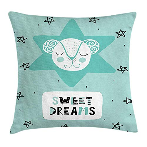 Sweet Dreams Eye Pillow (Yinorz Sweet Dreams Throw Pillow Cushion Cover, Lettering with Illustration in Scandinavian Style Mouse and Stars, Decorative Square Accent Pillow Case, 18 X 18 inches, Seafoam Black and White)