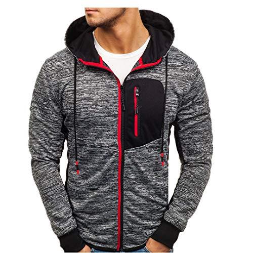 ITISME Herren Pullover Herren Hoody Zipper Slim Hoodies Sweatshirts Pullover Mantel Jacke (XXX-Large, Rot) -