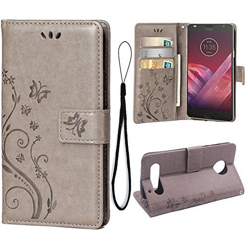 Teebo Hülle für Motorola Moto Z2 Force Schutzhülle aus PU Leder Handyhülle mit geprägtem Schmetterling-Muster Kartenfach und Magnetverschluss grau