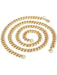Trendsmax Joyas de moda de hombres, niños dorado de 9 mm de cadena del encintado cubana conjunto de acero inoxidable collar de la pulsera de la joyería