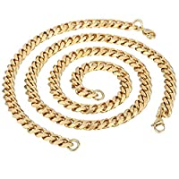 Trendsmax Fashion Boys Mens Jewelry 9mm Gold Tone Curb Cuban Chain Stainless Steel Necklace Bracelet Jewellery set