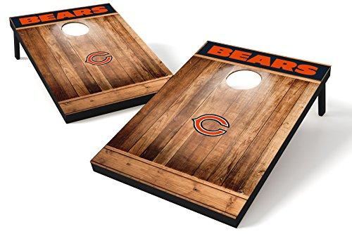 Wild Sports NFL Heckklappen-Toss aus Holz, Teamfarbe, Unisex, Chicago Bears Tailgate Toss - Brown Wood Design, Team Color, 2'x3' - Chicago Design