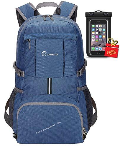 35L Ultraleicht Faltbare Wanderrucksack, ZOMAKE Multi-Funktionale Stopfbare Wasserdichte Casual Camping Tagesrucksack für Outdoor-Sport Klettern Bergsteiger(Saphirblau)