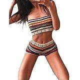 VENMO Frauen böhmische handgemachte Häkelarbeit Gestrickte Bikini Set Badebekleidung BH Badeanzug Damen Tunika Strandkleid Minikleid Bluse Tops Strandtunika Strickjacke Bikini (Multicolor, M)