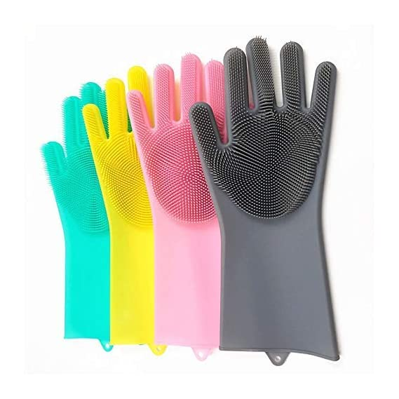 GSR Impex Dish Washing Gloves with Wash Scrubber Magic Silicone Heat Resistant Reusable Cleaning Gloves for Kitchen Car Bathroom and Pet on eave of Christmas New Year 2020 (1 Pair Multicolored)