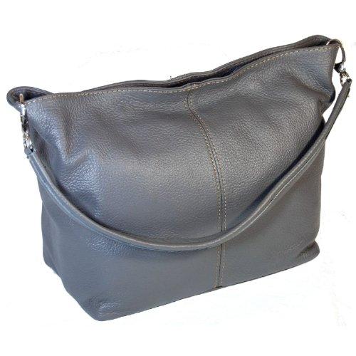 DELARA Shopper Leder, Farbe: Braun dunkelgrau