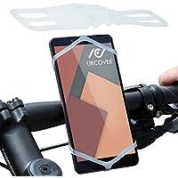Urcover® Supporto Manubrio Smartphone Bicicletta Moto | Universale | Poliuretano Bianco | Sport Outdoor Mountain-Bike Elastico Silicone Gomma Sostegno Cellulare Porta-Telefono Stand Navigatore