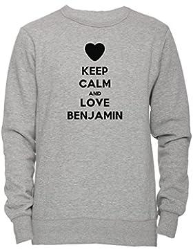 Keep Calm And Love Benjamin Unisex Uomo Donna Felpa Maglione Pullover Grigio Tutti Dimensioni Men's Women's Jumper...