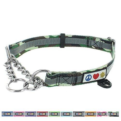 Pawtitas Gehorsamkeitshalsband von Pet, reflektierendes Martingale Hundehalsband. Mittel Grüne Tarnung (Martingal Grün)