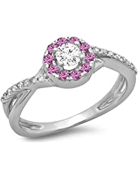 e9b06f5d3a60aa Little Treasures 9 ct White Gold Pink Genuine Sapphire & White Diamond  Ladies Split Shank Bridal