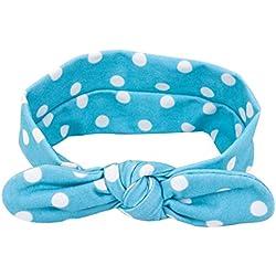 TOOGOO Hairband, Orejas de conejo bebe del lunar del arco elastico de punto diadema turbante (azul)